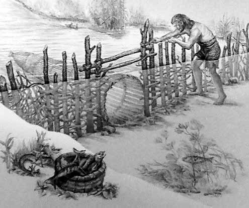 Artists impression of Neolithic fish traps made of upright posts